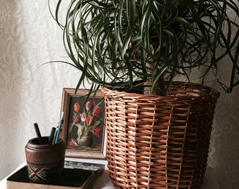 Vintage 1970s Basket Planter Mid Century Boho SALE