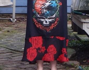 Grateful Dead Hi Lo SYF T Skirt Roses Tie Dye Festival Hippie Shirt OOAK Patchwork