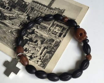 Men's Brown and Black Czech Wooden Skull Bracelet with Cross