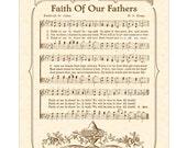 FAITH Of Our FATHERS - Hymn Wall Art - Custom Christian Home Decor - VintageVerses Sheet Music - Inspirational Wall Art- Music Wall Art 8x10