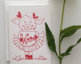 Letterpress Greeting Card - Wooo!