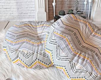 Chevron Floor Pillow // Round & Square // Dorm Decor // Modern Living // Home Decor // Floor Cushion // Dash And Dot Chevron Design // Gray