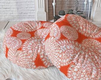 Boho Floor Pillow // Round and Square Sizes // Floor Cushion // Dorm Decor // Pillows // Delightful Doilies Saffron Design // Orange