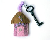 Wool Felt House Key Chain in dusty rose and gold with lavender and purple Embroidered Floral and Beaded Embellishments, Key Fob 2.5 x 2""