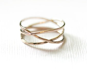 Triple wrap eternity Ring, wrap around ring, over lapping ring, Overlap ring, Criss cross ring, stacking ring, faux stack ring