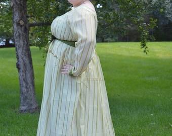 Jane Austen Regency Day Round Gown Dress in green sheer stripe and silk