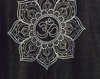 OM symbol Lotus Flower Art Print Tank Top  American Apparel  XS S M or L