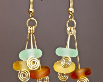 Seaglass and gold wire spiral fashion earrings by paulbead, gold spirals and beach glass wrapped dangle earrings, warm earthy glow earrings
