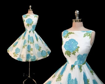 Vintage 1950s Blue Roses Chiffon Full Skirt Cocktail Party Dress S