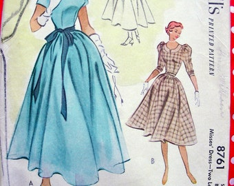 UNCUT Vintage 50's McCalls Pattern 8761  - ELEGANT Evening Dance Ballerina Length Dress  -Size 16 * Bust 34