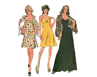 1970s Summer Bra Dress Pattern Empire Waist Fit and Flare Evening Club Length Dress and Jacket McCalls 4010 Bust 31 Vintage Sewing Pattern