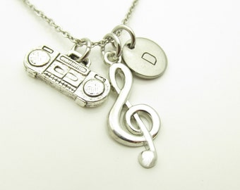 G Clef Necklace, Treble Clef Necklace, Music Necklace, Boom Box and Treble Clef, Antique Silver, Personalized, Initial Necklace Y318