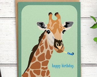 "Giraffe birthday card. ""happy birthday"". Giraffe cards. Funny birthday cards. Giraffe card. Happy birthday card."