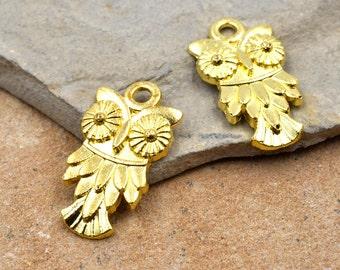 Gold Owl Charm, 18pcs, 20mm, Gold Charms, Owl Pendant – C209
