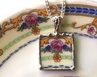 Broken China Jewelry pendant necklace antique fine bone china porcelain pink rose