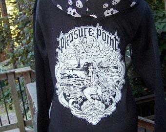 ROCKVIEW Mermaid and Sugar Skull Pirate Full Zip Sweatshirt! Skull print hood!!  FREE SHIPPING!!