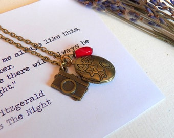 Adorable Camera, Locket Necklace, Perfect For An Instagram Lover, Photographer, Antiqued Brass Charms, Locket Jewelry Gifts by HoneyNest