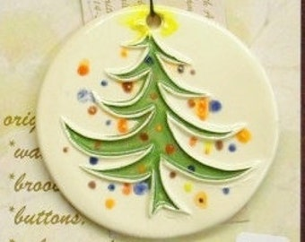 "ORNAMENT ""WHOVILLE"" inspired Christmas tree handmade ceramic original design great family gift ready to send white clay gift wrap under 25"