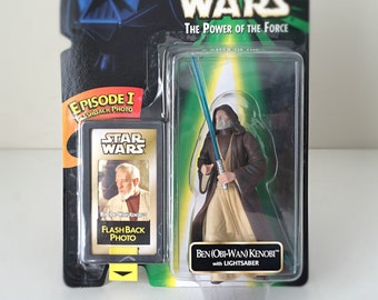 Vintage Star Wars Figure Obi-Wan Kenobi - 1990's Power of the Force Toy Line - Jedi Knight from Star Wars A New Hope