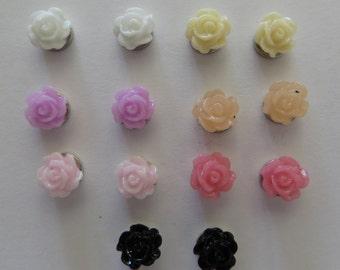 Magnetic Rose Flower - small - Earrings Clip on non pierced ears