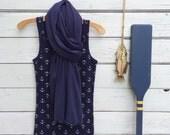 Navy Blue Scarf, Dark Blue Scarf, Long Jersey Scarf, Summer Scarf, Fall Scarf, Women Scarf, Nautical Scarf, Women Fashion Accessories, Gift
