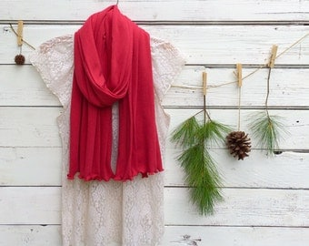 Red Scarf, Jersey Scarf, Long Scarf, Jersey Knit Scarf, Wrap, Shawl, Oversized Scarf, Fall Scarf, Winter Scarf, Cardinals Football Scarf