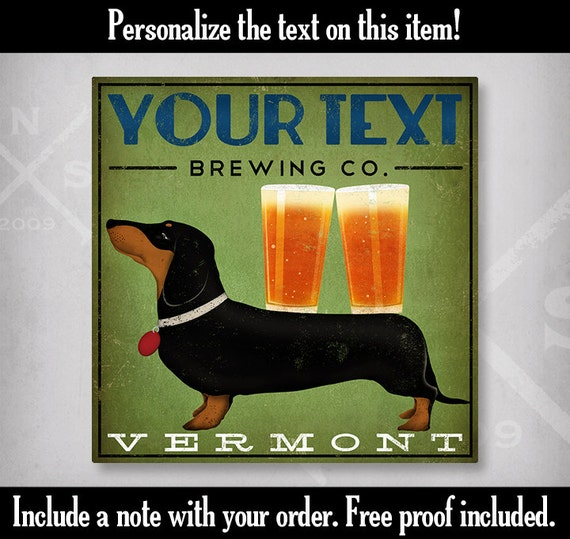 DACHSHUND Wiener Dog Ginger Beer Brewing Company graphic art giclee print  SIGNED Hot Dog