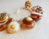 Polymer Clay, Breakfast Foods Themed Charm Bracelet, Food Jewelry, Statement jewelry