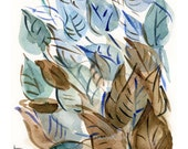 leaves print, Abstract Leaves art print, Leaves watercolor print, modern art, home decor, leaves art, Teal, brown, light blue