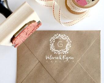 Custom Monogram Stamp - YOUR CUSTOM WORDING - Whimsy