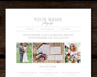 Wedding pricing guide photography price list template photography price list template pricing guide templates photo marketing design wedding photographer branding junglespirit Image collections