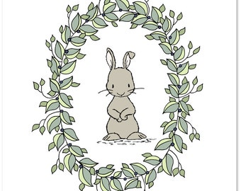 Woodland Nursery Art -- Bunny Laurels