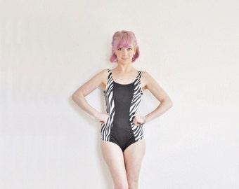zebra color block swimsuit . slimming retro maillot . one piece .medium