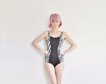 zebra color block swimsuit . slimming retro maillot . one piece .medium .sale s a l e