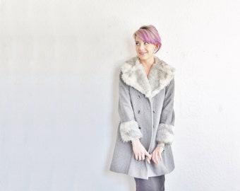 faux fur trimmed winter coat . dove gray trench jacket .small.medium .sale