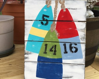 Buoy Pallet Custom Date Sign Beach Nautical Nursery and Wedding Decor CUSTOM Date or Initials