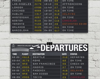 """Airplane Party Poster - Arrival & Departure Signs, Airport Terminal Signs, Aviator Decor- 17""""x11"""" - TWO Instant Download PDF Printable Signs"""