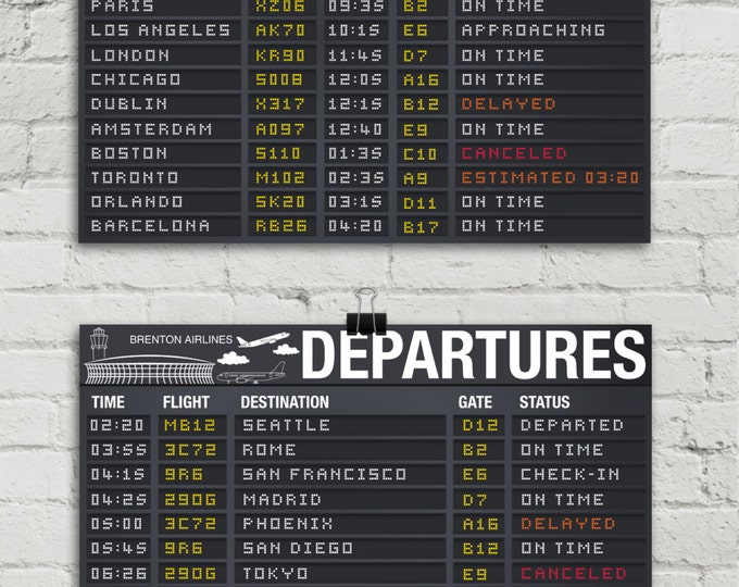 "Airplane Party Poster - Arrival & Departure Signs, Airport Terminal Signs, Aviator Decor- 17""x11"" - TWO Instant Download PDF Printable Signs"