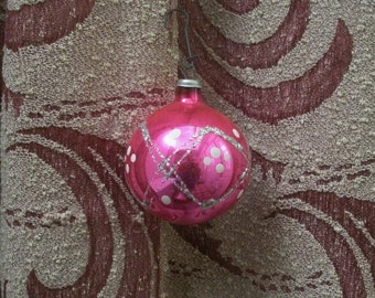 Vintage Pink Glass Ball Ornament with Glitter