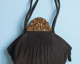 1930's Vintage Black Suede Princess Label Evening Purse Handbag Gorgeous