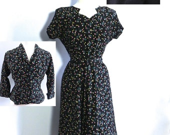 Vintage 40s Dress and Jacket Suit - 1940s Rayon Dress 2pc Set with Hearts and Roses M L