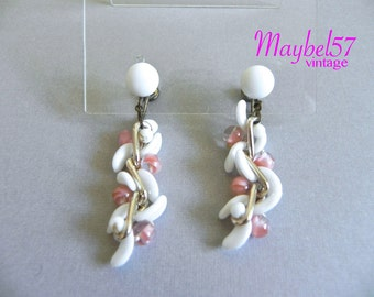 Vintage 50s Pink and White Glass Bead Chain Earrings - 1950s White Pink Glass Dangle Drop Earrings