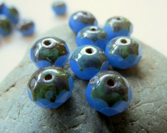 NEW HYDRANGEA No.2 .  Czech Picasso Glass Beads . 6 by 8 mm (10 beads)