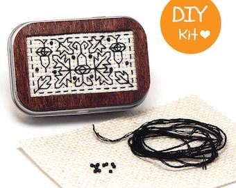 DIY Mini Tin Box with Wood Frame BlackStitch Kit Acorns
