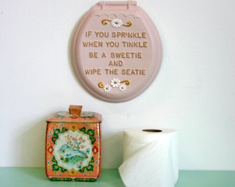 Vintage 1960s Kitschy Chalkware Toilet Seat Bathroom Poem