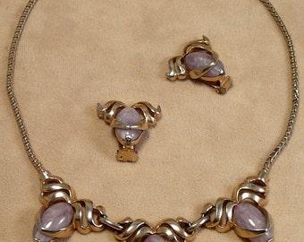 Reja Lavender Marbled Art Glass Stones Set Necklace Earrings Vintage