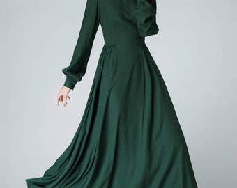linen, linen dress, womens dress, green dress, long sleeve dress, long dress, maxi dress, bishop sleeve dress, womens dress, fall dress 1454