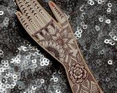 Tattoo Hand (Henna Tattooed Hand) Lasercut Wooden Brooch