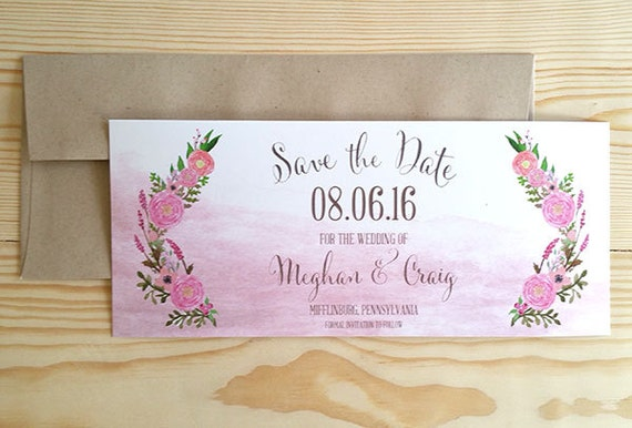 Botanical Save the Date, Blush Save the Date, Rustic Wedding, Watercolor Wedding, Save the Date, Country Wedding, Vintage Wedding