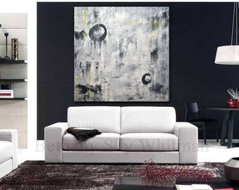 Original EXTRA LARGE Abstract Painting Modern Art 48x48 gray black & white modern abstract acrylic painting Ready to hang FREE Shipping!